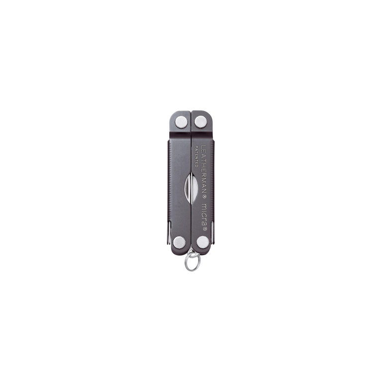 Leatherman micra multi-tool, gray, 10 tools, closed view