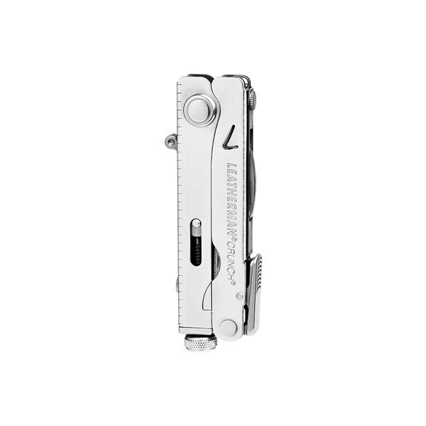 Leatherman crunch multi-tool, stainless steel, closed view, 15 tools image number 1
