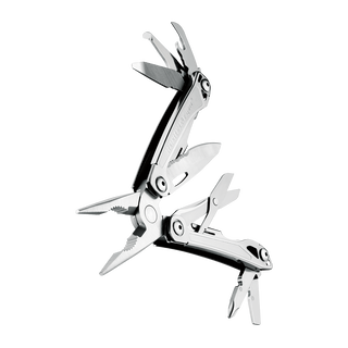 Leatherman wingman multi-tool, stainless steel, 14 tools, open fanned view
