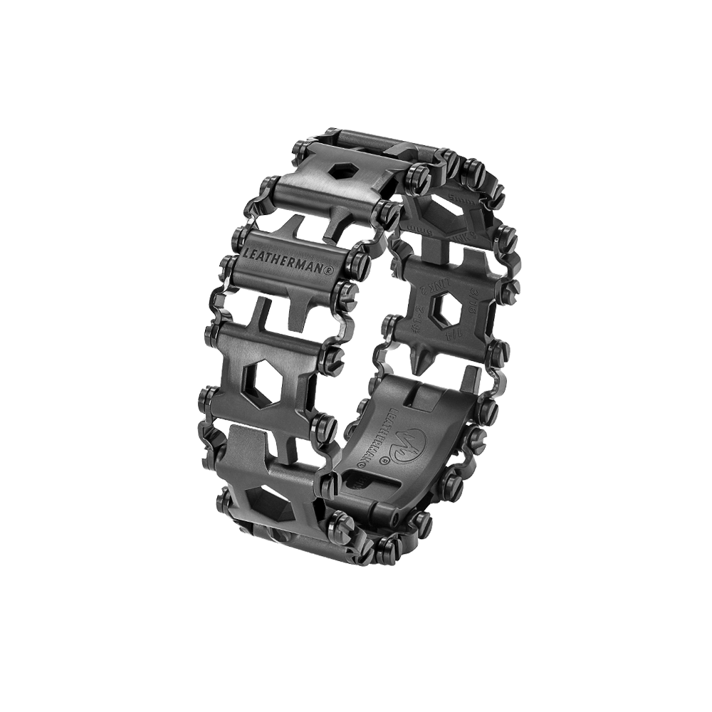 Leatherman tread multi-tool bracelet in black, 29 tools, angled view