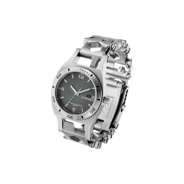 Leatherman Tread Tempo LT multi-tool watch, front angled view, stainless steel, 28 tools