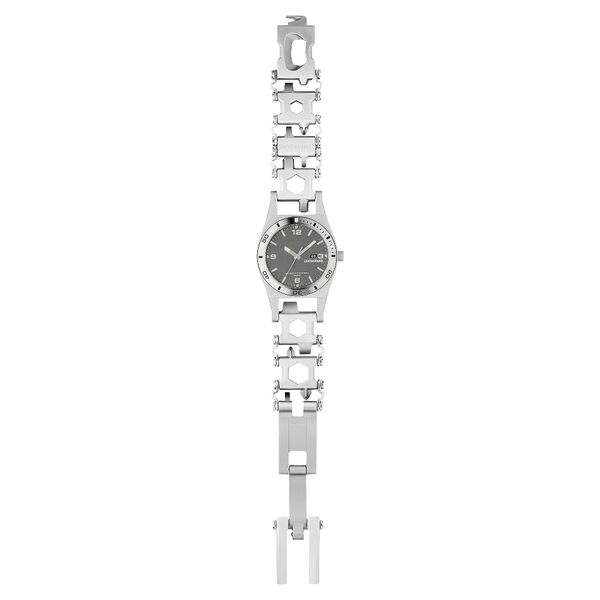 Leatherman tread tempo multi-tool watch in stainless steel, 30 tools, lay flat view image number 5