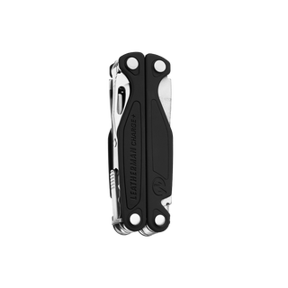 Leatherman charge plus multi-tool, stainless steel, angled open view, 18 tools