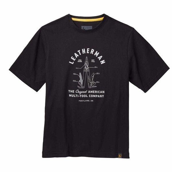 Black short sleeve T-Shirt with PST badge front side image number 0