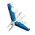 Leatherman leap multi-tool, blue, angled open view, 13 tools, children multi-tool