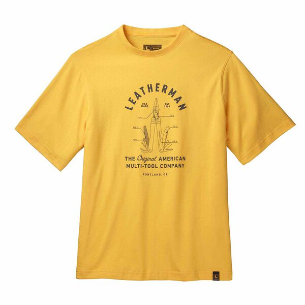 Yellow short sleeve T-Shirt with PST badge front side image 0