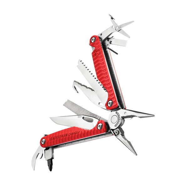An angled view of a red Leatherman Charge+ G10 multi-tool with the 19 tools fanned open image number 3