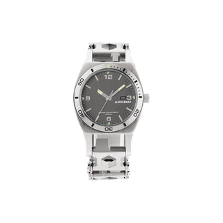Leatherman Tread Tempo LT multi-tool watch, front view, stainless steel, 28 tools