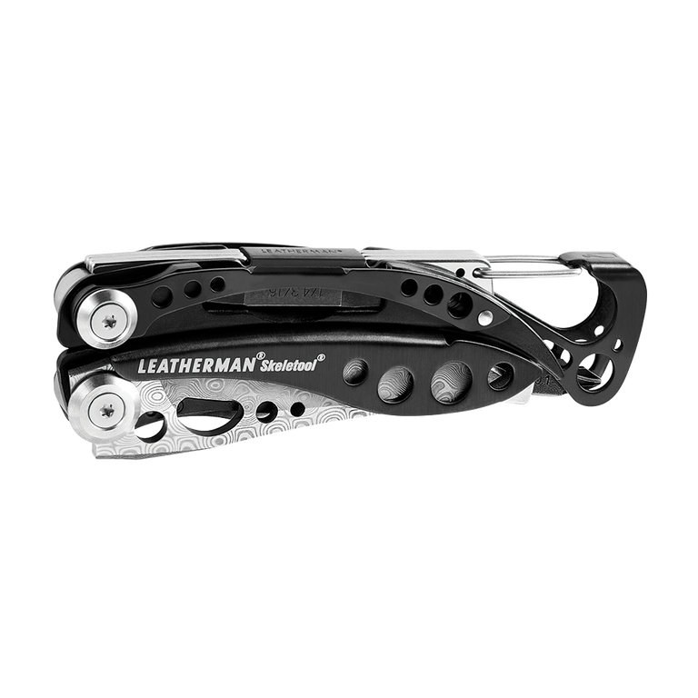 Leatherman skeletool damasteel multi-tool, black, closed view, 7 tools