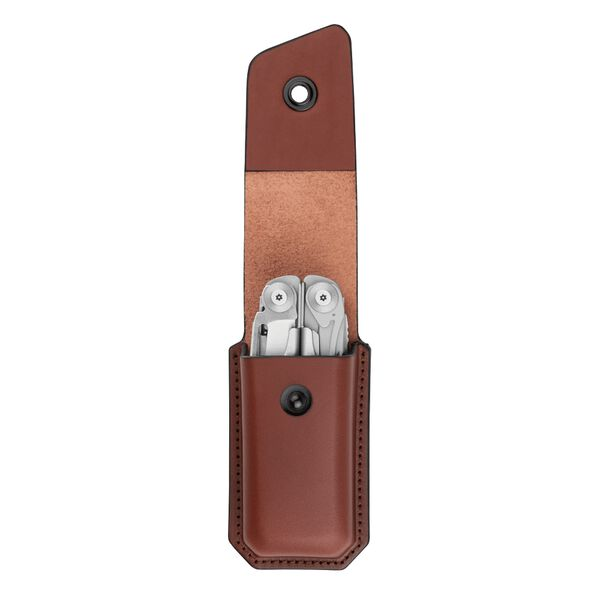 Open Leather Ainsworth Sheath with Leatherman Multitool Inside image number 2