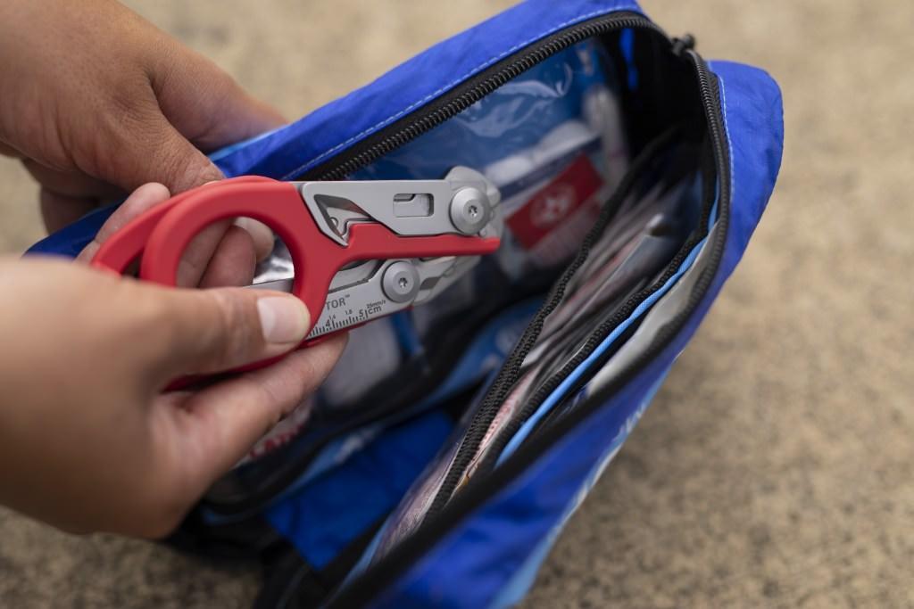 Foldable Raptor shears in an emergency prep kit.