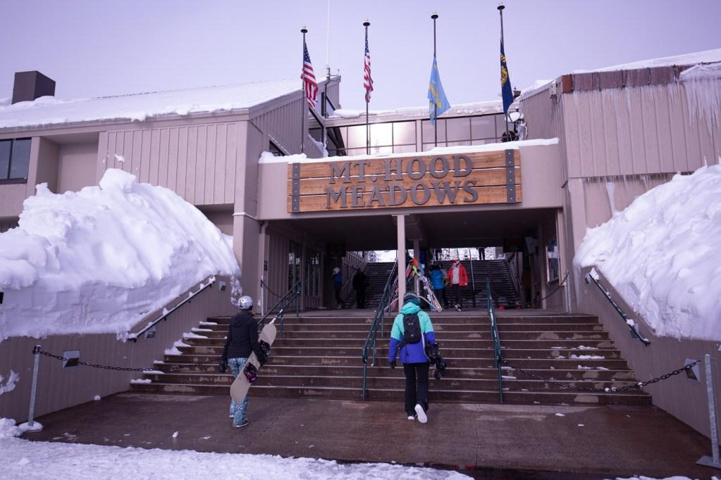 Walking up to the entrance of Mt. Hood Meadows ski resort.