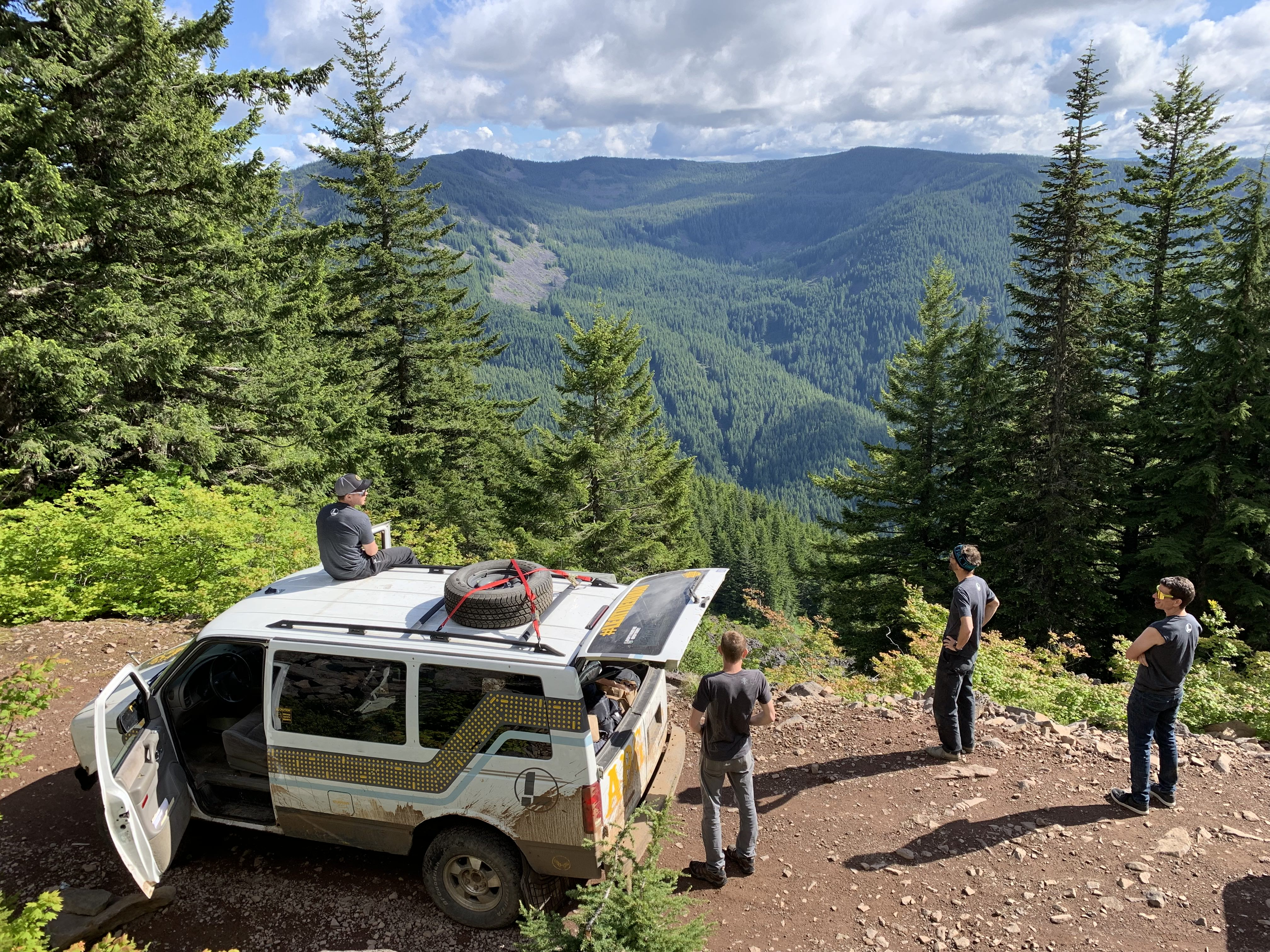 Leatherman van in the Oregon forest.