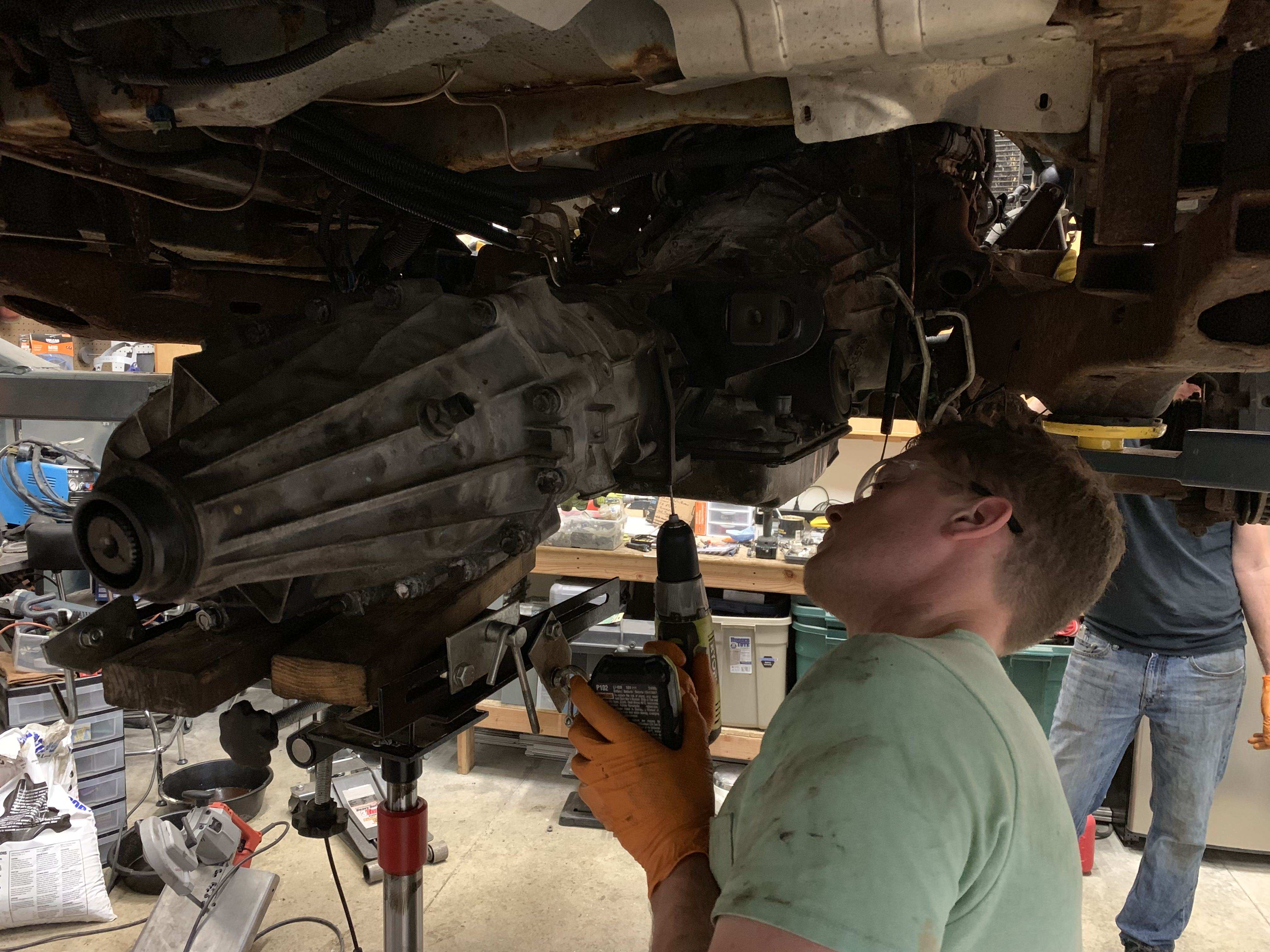Leatherman engineer fixing the transmission on the van.