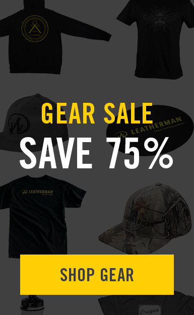 leatherman gear sale banner, apparel and hats