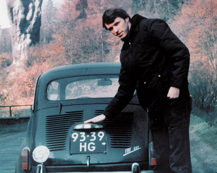 Tim Leatherman in 1975, standing with his hand on the cranky Fiat that inspired the first mult-tool.