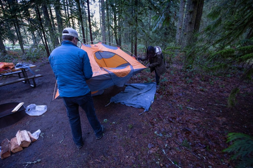 Setting up camp at Ox Bow State Park along the Sandy river.