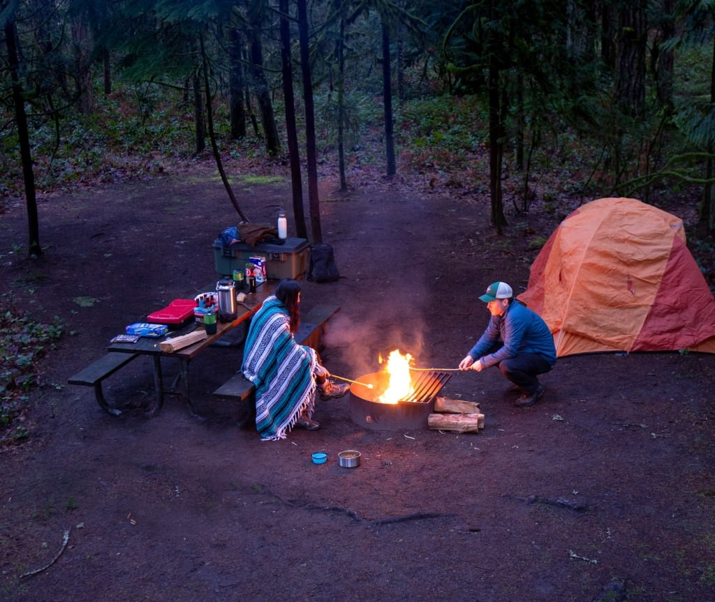 Roasting marshmallows over an open fire at Oxbow State Park.