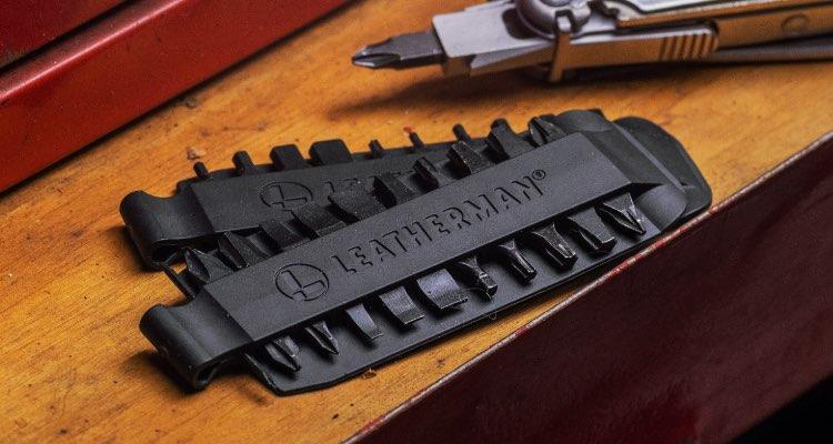 Leatherman bit kit displayed on table