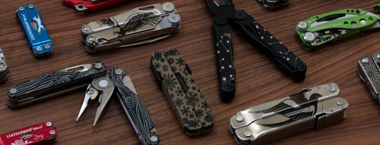 Leatherman multi-tools customized with laser etched patterns, pictures, and messages.