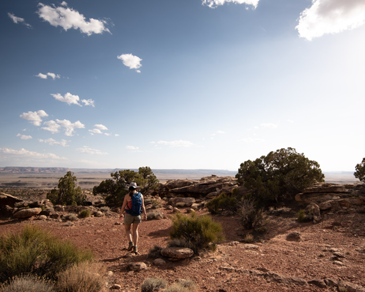Person going on hike in the desert