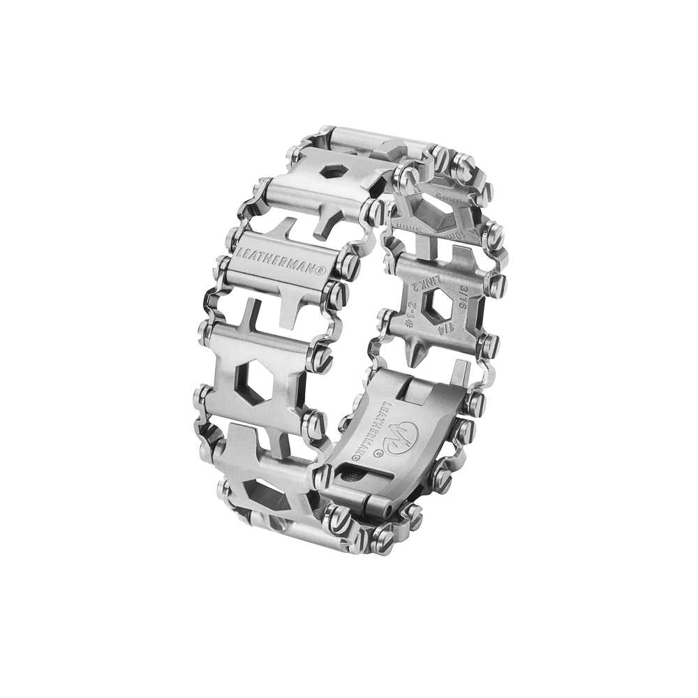 Leatherman tread multi-tool bracelet in stainless steel, 29 tools, angled view