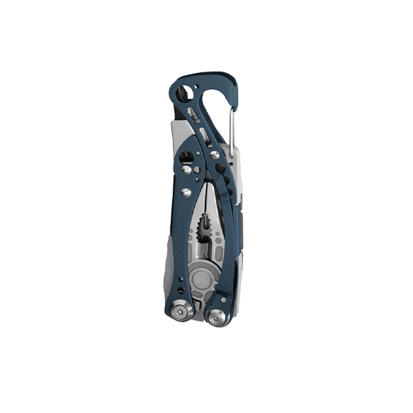 Leatherman skeletool multi-tool, blue, 7 tools, closed view