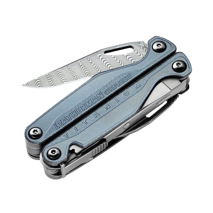 Leatherman charge plus tti titanium multi-tool, damascus steel, knife blade partially open
