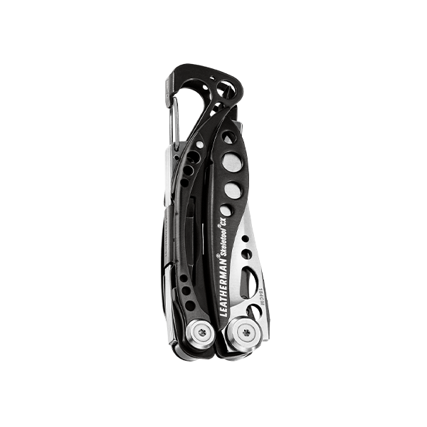 Leatherman Skeletool CX multi-tool, black and silver, 7 tools, closed view showing one-hand opening blade