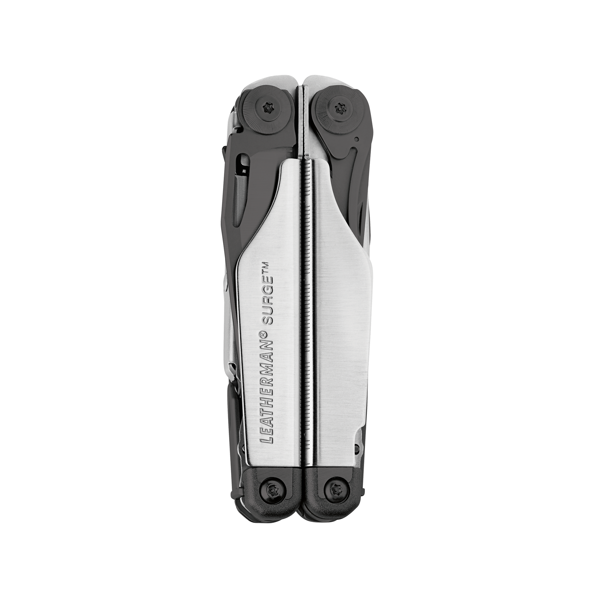 Leatherman Surge multi-tool, black and stainless steel, heavy duty, 21 tools, closed view