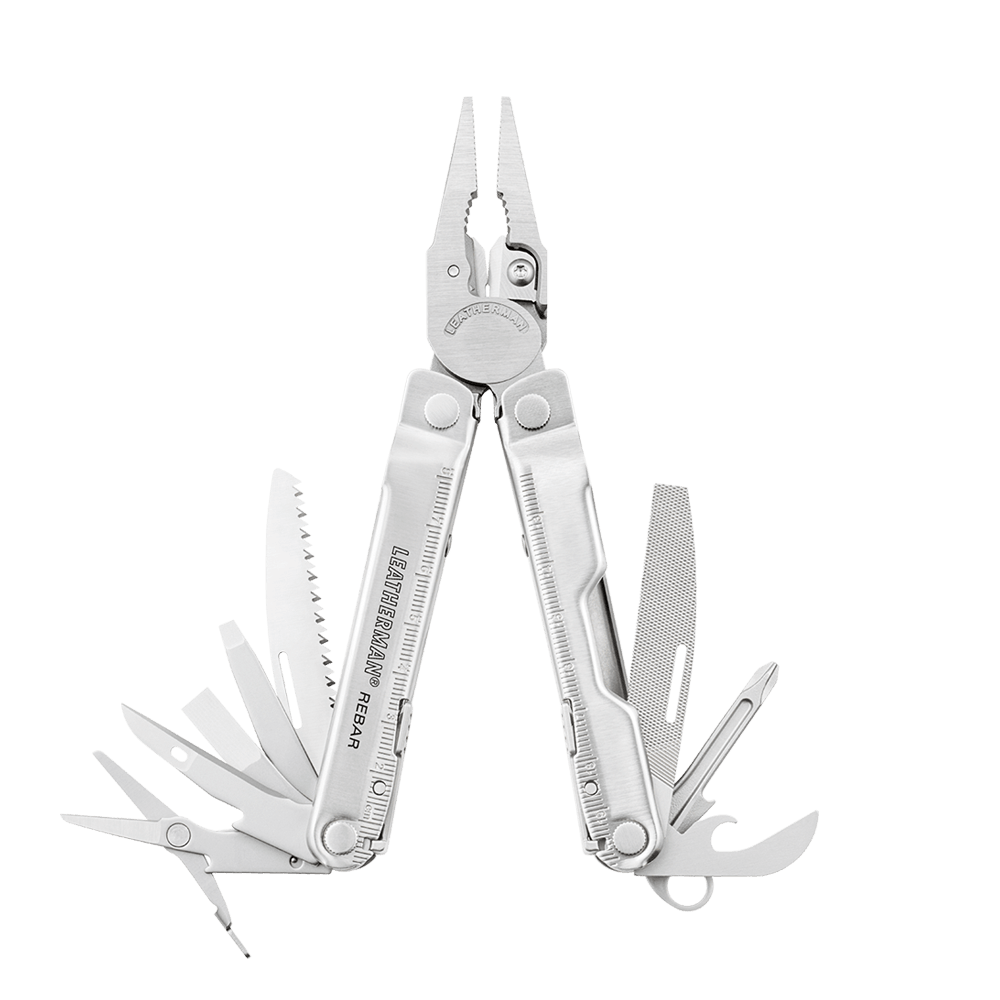 Leatherman knifeless rebar multi-tool, open view, 15 tools, stainless steel