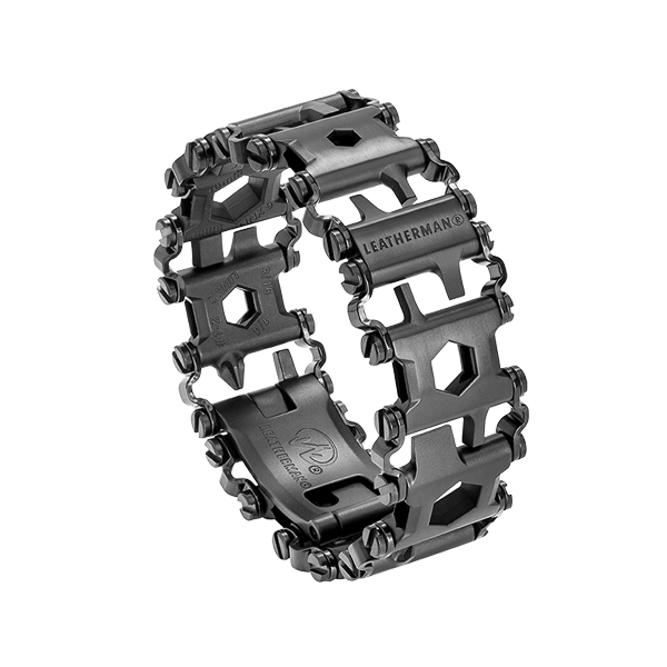 Leatherman black tread multi-tool bracelet, 29 tools, angled view