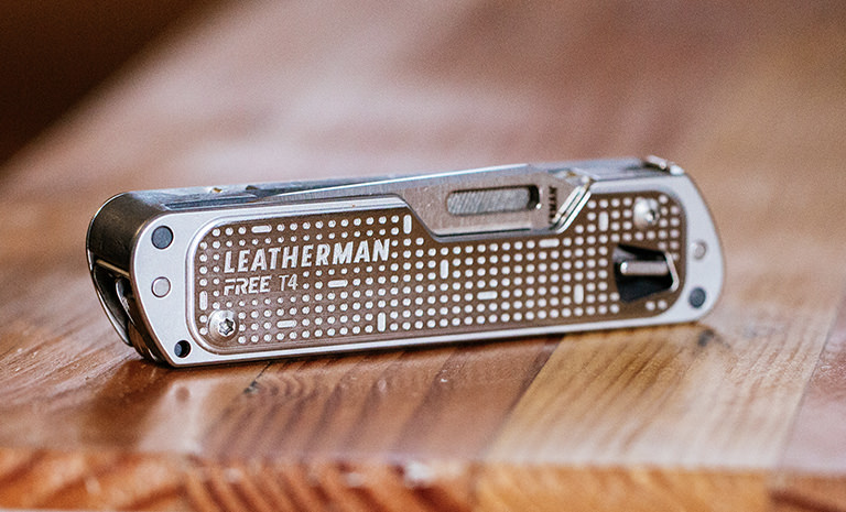 Leatherman FREE T4 on table, silver, closed
