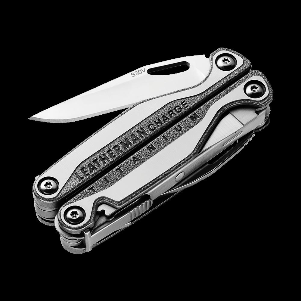 Leatherman charge plus tti titanium multi-tool, stainless steel, knife blade partially open