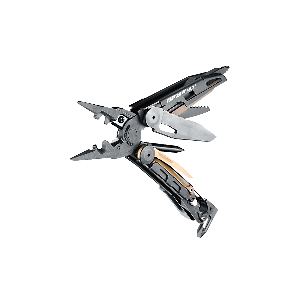 Leatherman mut eod multi-tool, open angle view, 15 tools, black
