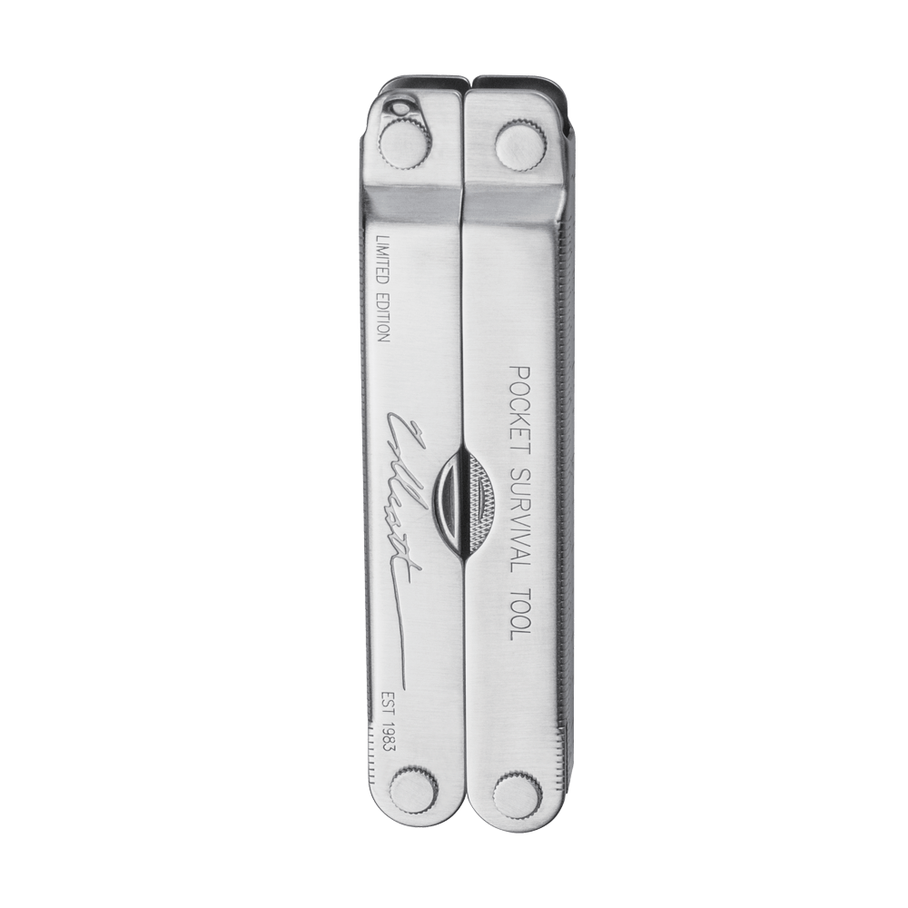 Leatherman collector's edition pocket survival multi-tool, stainless steel, closed view