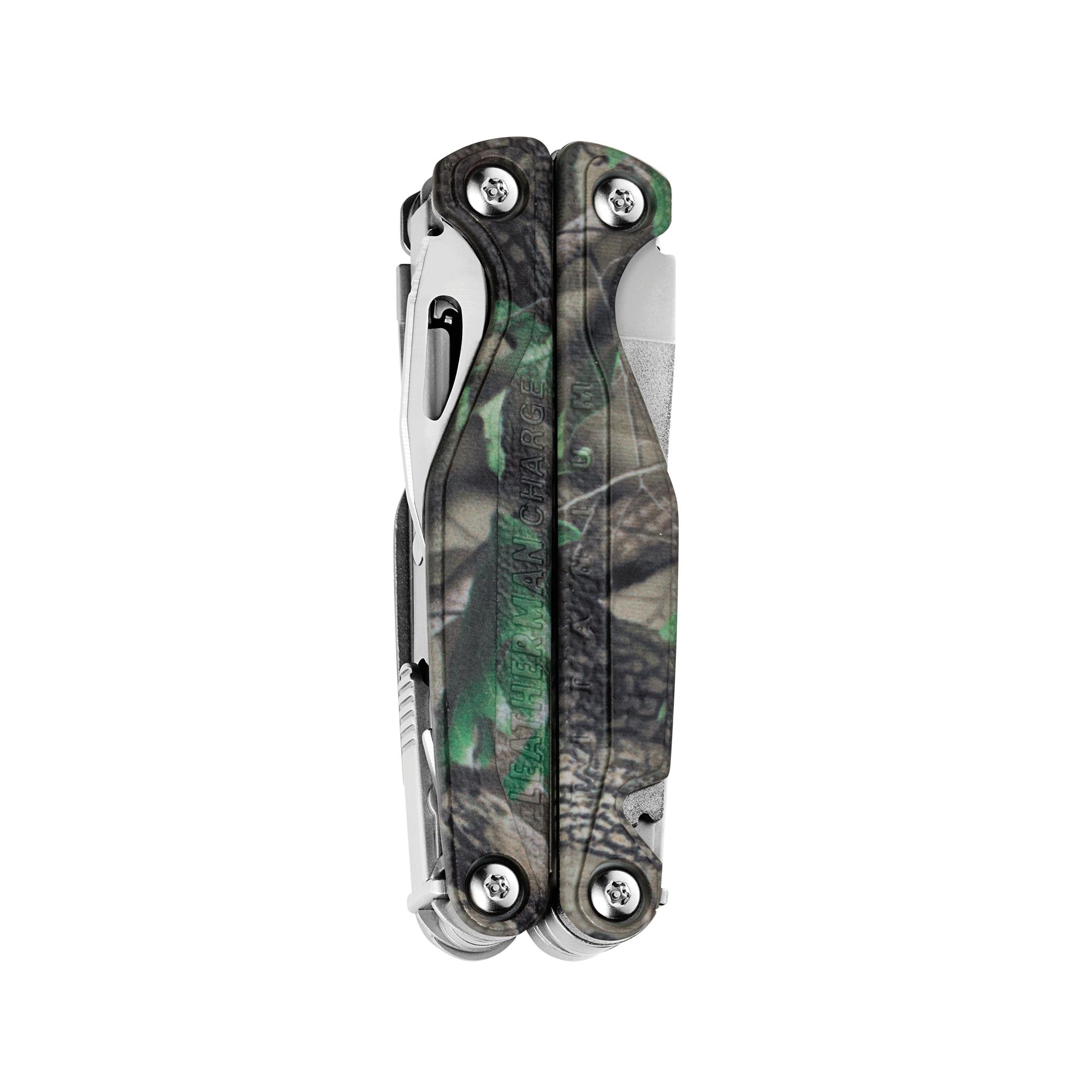 Leatherman Charge TTi multi-tool, closed view, Realtree camo print, 18 tools