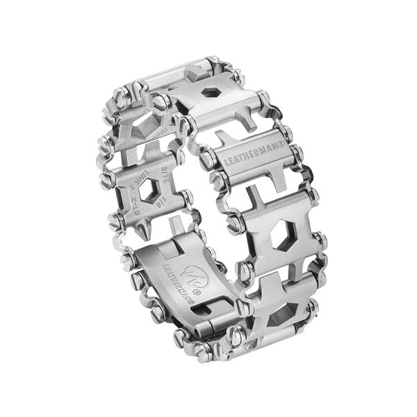 Leatherman stainless steel tread multi-tool bracelet, 29 tools, angled view