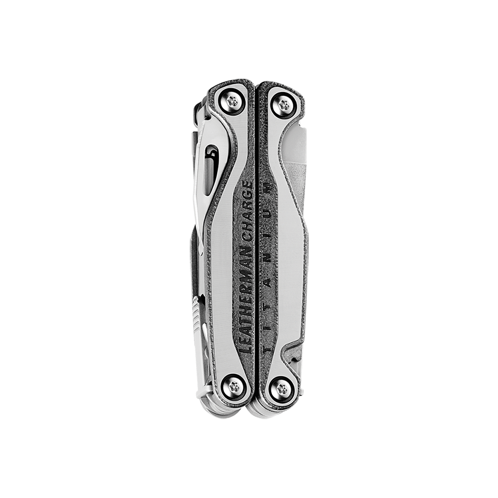 Leatherman charge plus tti titanium multi-tool, stainless steel, 19 tools, closed view