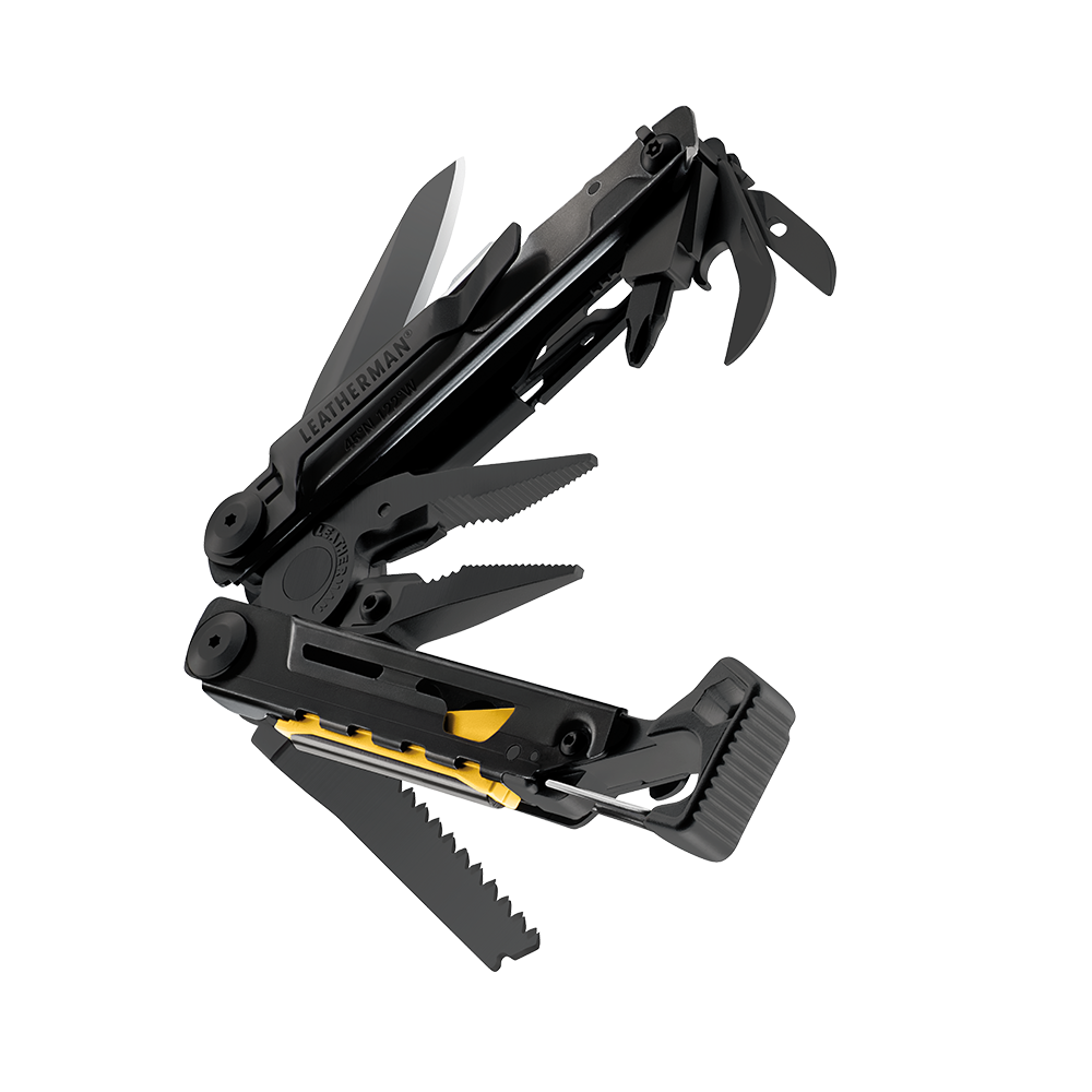 Leatherman signal multi-tool, black, beauty closed view, 19 tools