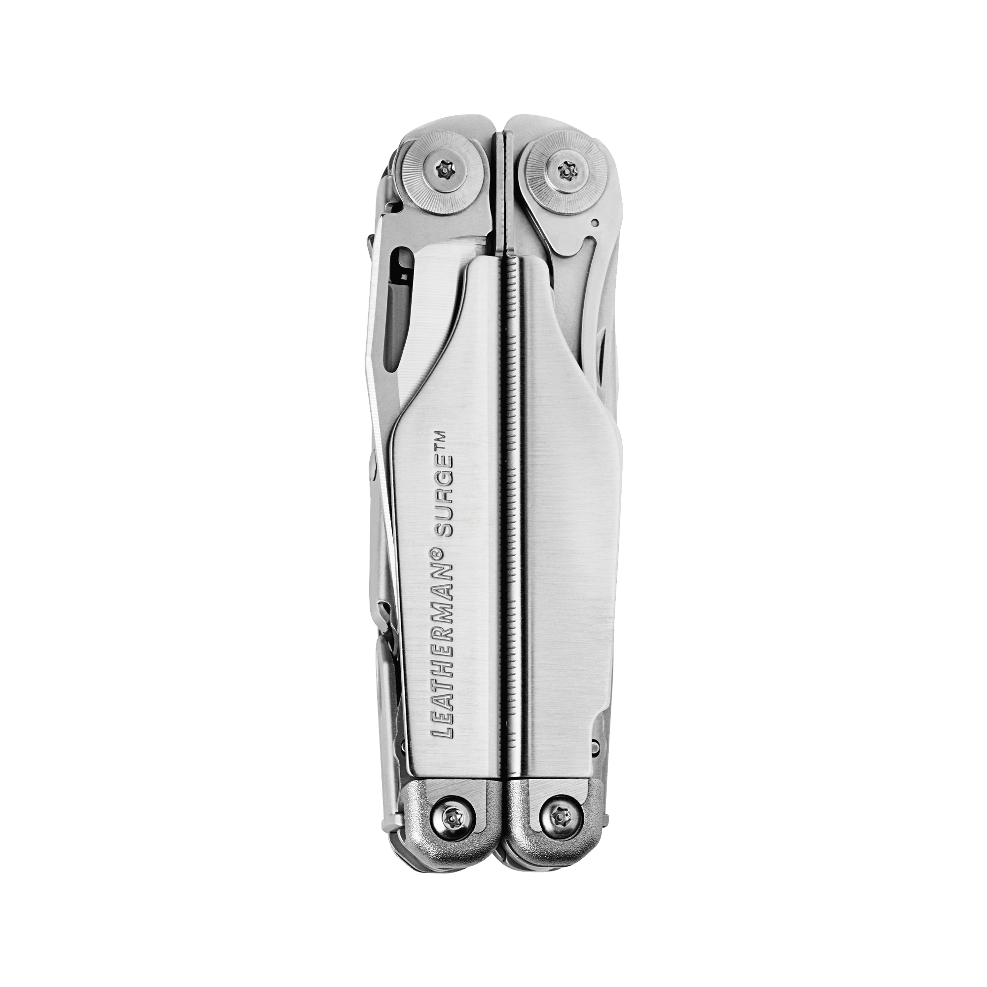 Leatherman Surge multi-tool, stainless steel, heavy duty, 21 tools, closed view