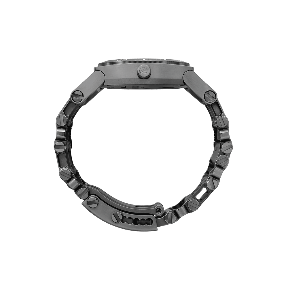 Leatherman tread tempo multi-tool watch in black, 30 tools, side view