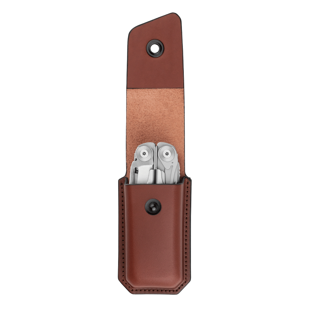 Open Leather Ainsworth Sheath with Leatherman Multitool Inside