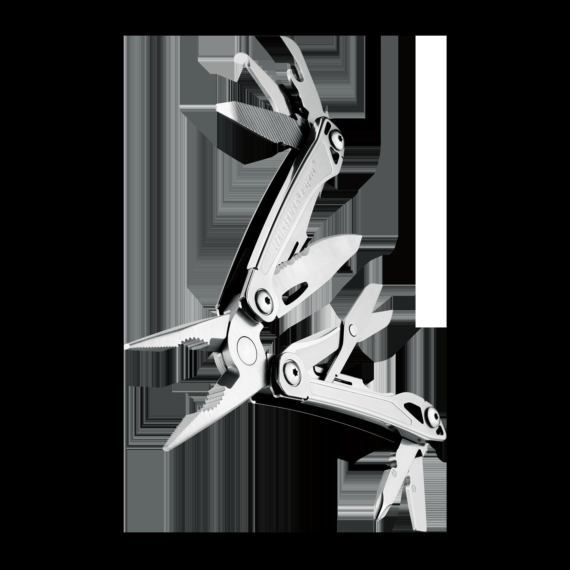 Leatherman wingman multi-tool, stainless steel, 14 tools, open fanned view