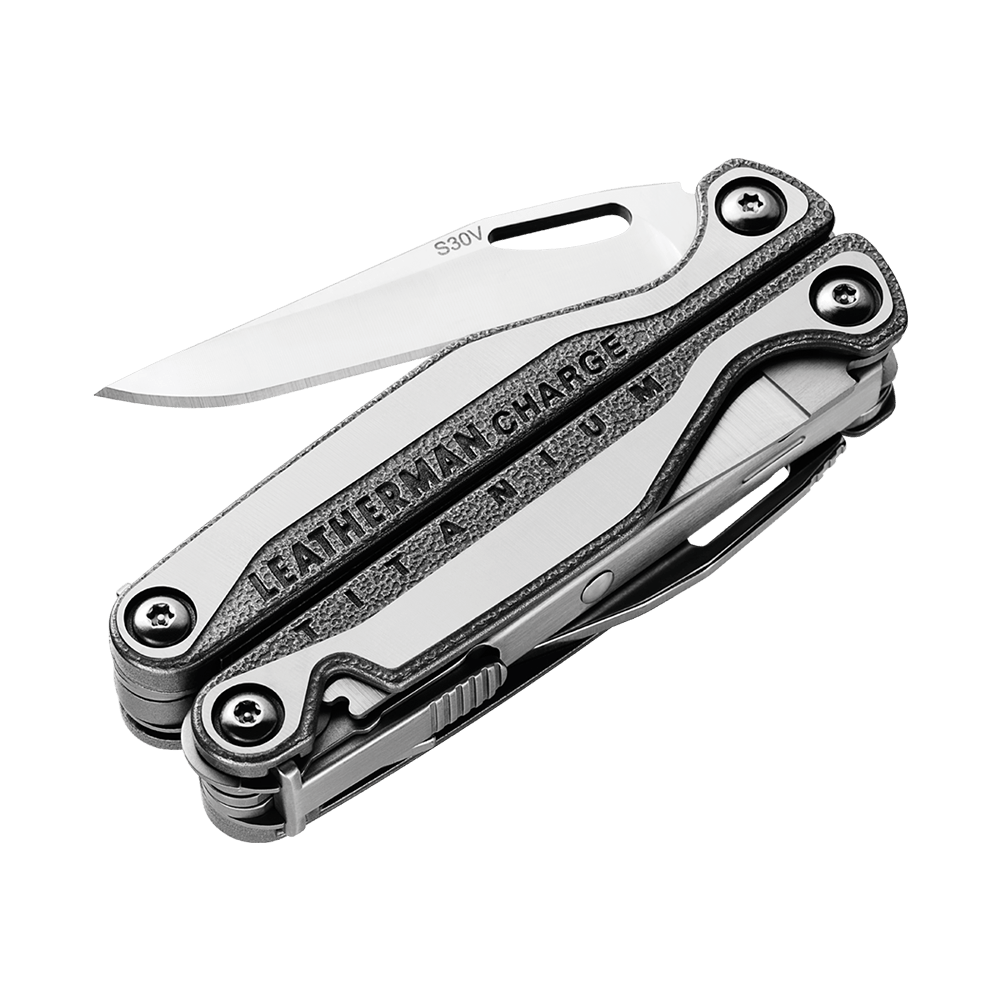 Leatherman charge plus tti titanium multi-tool, stainless steel, knife blade partially open