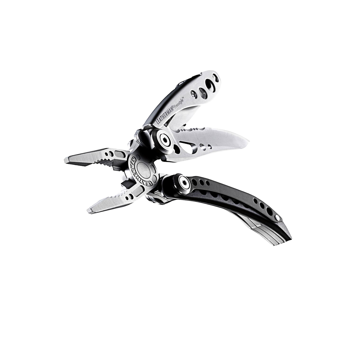 Leatherman freestyle multi-tool, open view, black and stainless steel, 5 tools