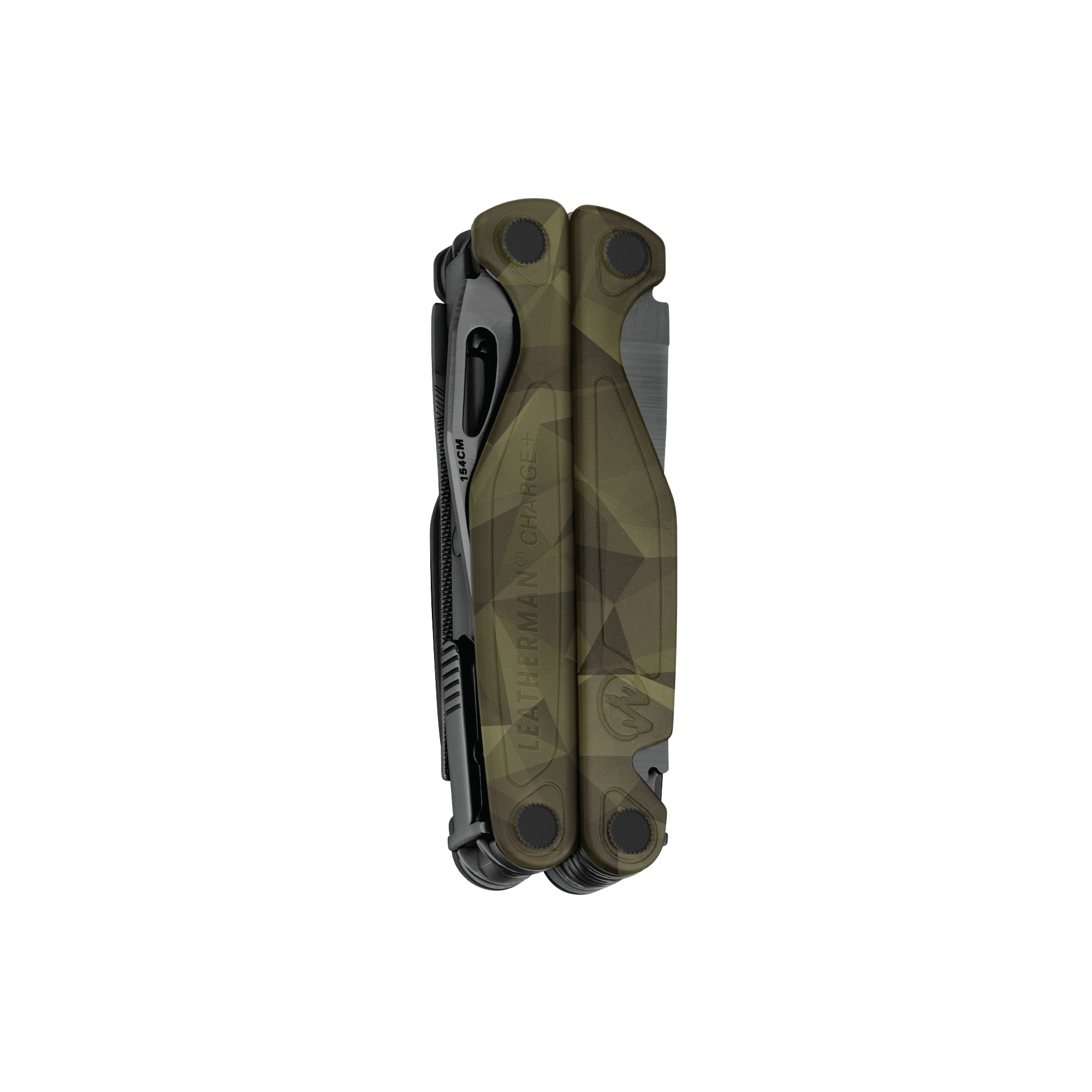 Leatherman Charge multi-tool, closed view, forest camo, 19 tools