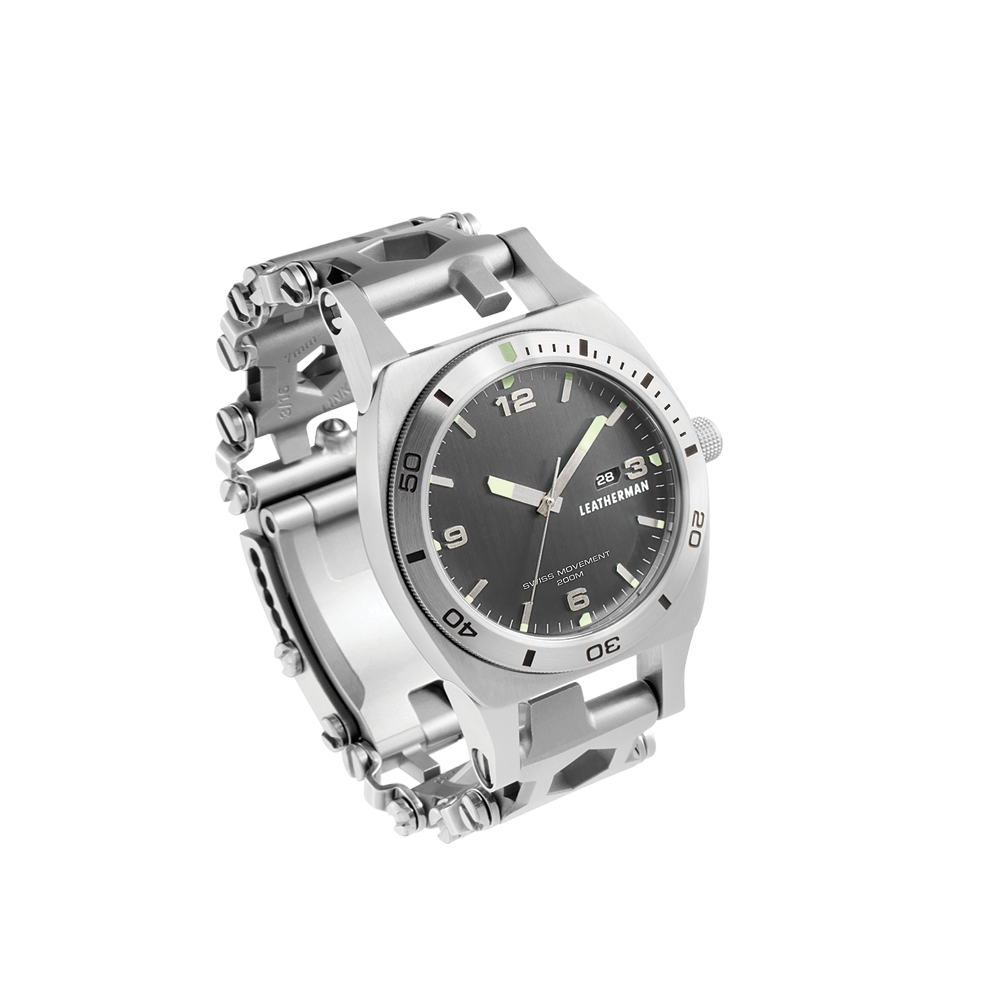 Leatherman tread tempo multi-tool watch in stainless steel, 30 tools, side view