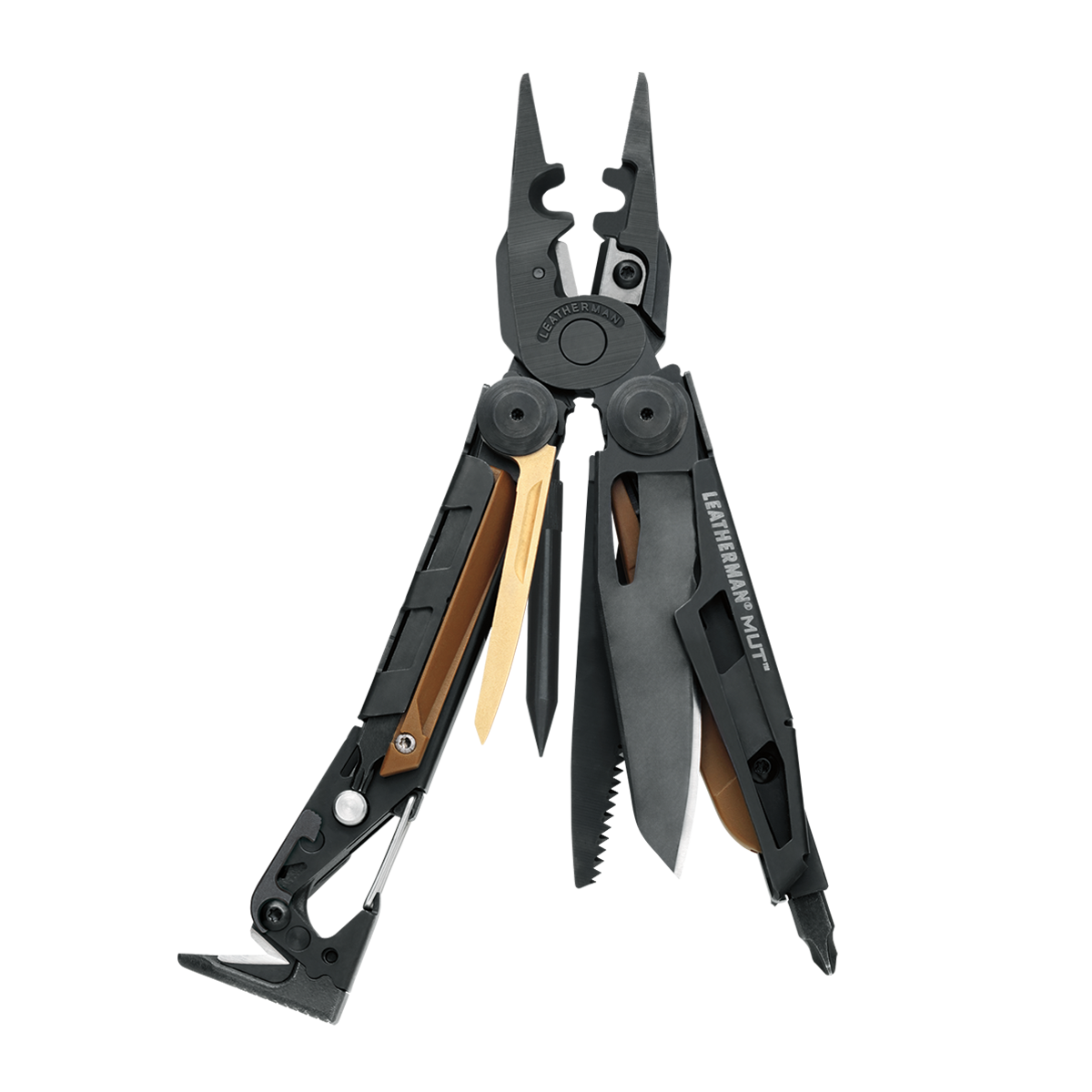 Leatherman mut eod multi-tool, open view, 15 tools, black