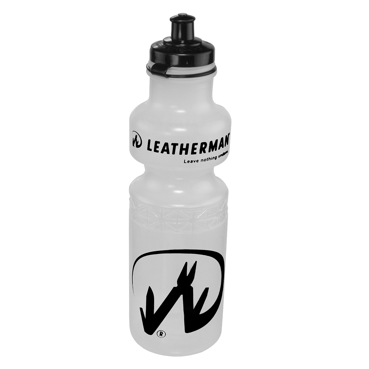 Clear Water Bottle With Black Print and Black Cap
